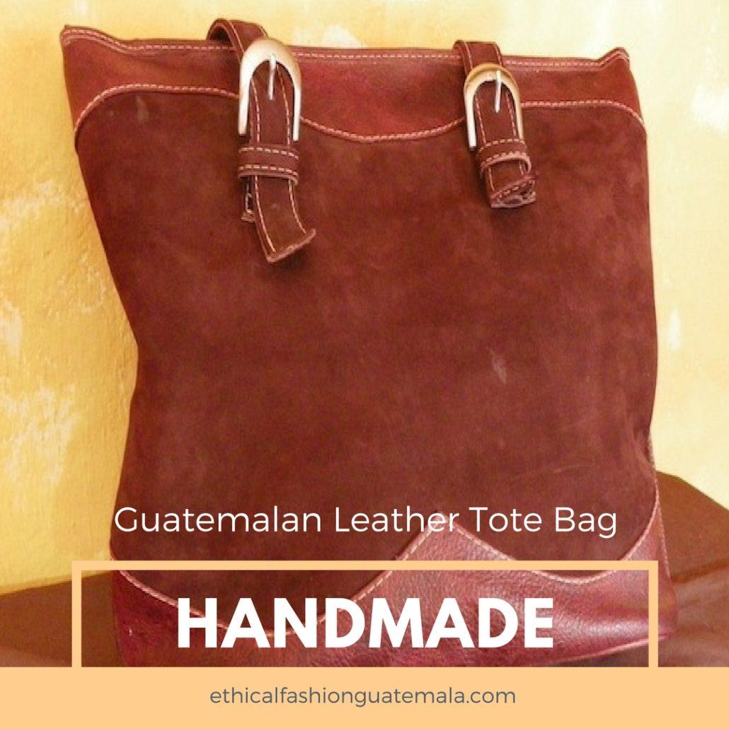 Guatemalan Handmade Leather Tote Bag